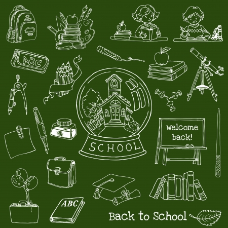 classroom supplies: Back to School Doodles - Hand-Drawn  Illustration Design Elements
