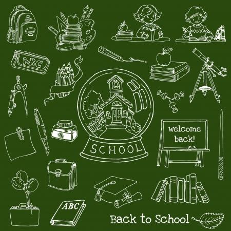 Torna a scuola Doodles - disegnate a mano Elementi di design Illustrazione