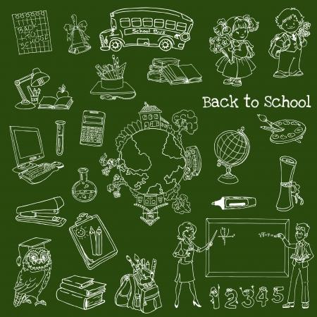 Back to School Doodles - Hand-Drawn Illustration Design Elements Stock Vector - 14607342