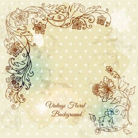 hand drawn flower: Beautiful floral background, hand drawn retro flowers, leafs and ornaments  Illustration