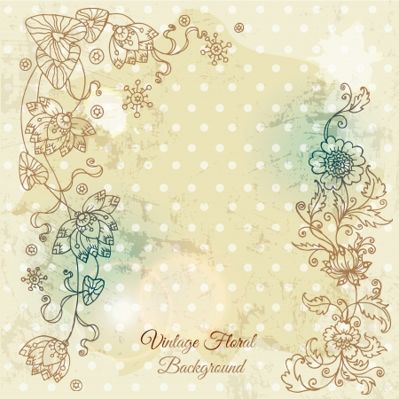 Beautiful floral background, hand drawn retro flowers, leafs and ornaments  Vector