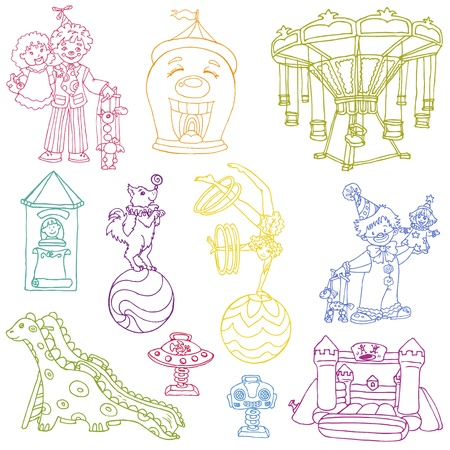 Vector set: Vintage Circus Elements - hand drawn doodles Vector