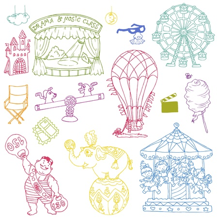 Vintage Circus Elements - hand drawn doodles Stock Vector - 14607337