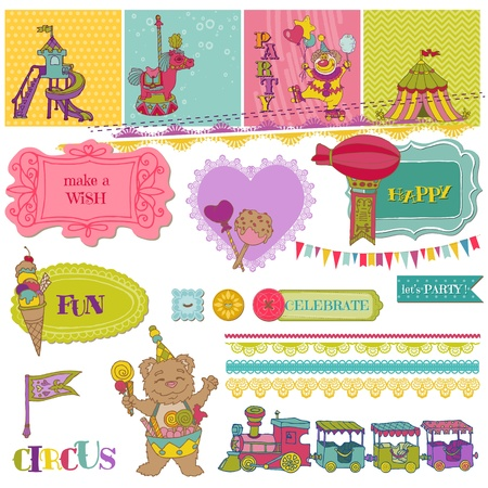 Scrapbook Design Elements - Birthday Party Child Set  Vector