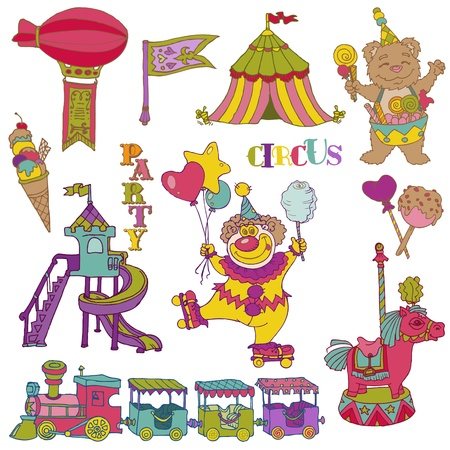Vintage Circus Elements - hand drawn doodles Vector