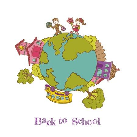 Retour à l'école Doodles - tiré par la main