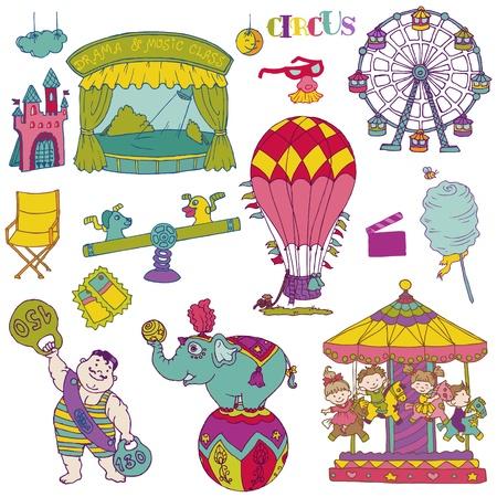 carnival girl: Vintage Circus - Elementos mano garabatos dibujados Vectores