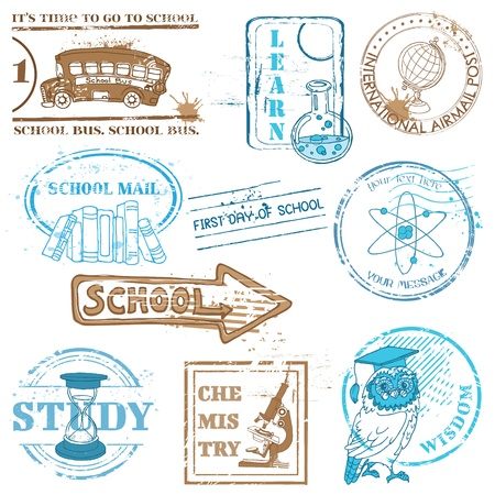 post stamp: Set of SCHOOL stamps - for design and scrapbook