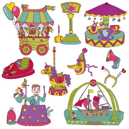 acrobatic: Vintage Circus Set - for scrapbook or design elements Illustration
