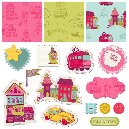 scrapbooking paper: Little Town Scrap - for scrapbooking and design  Illustration