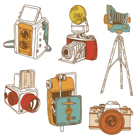 Set of Cameras - hand-drawn doodles Stock Vector - 14781386