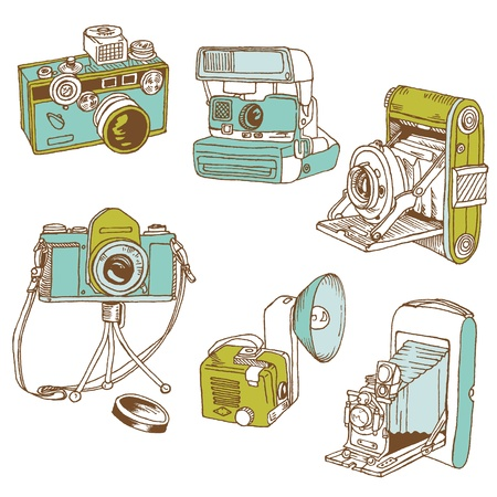 vintage camera: Set of Cameras - hand-drawn doodles
