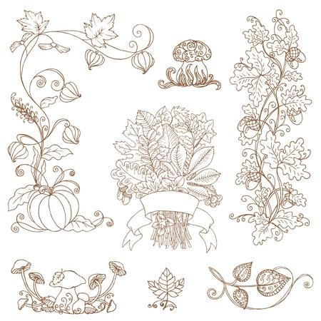 pumpkin border: set of decorative Autumn branches - for scrapbook and design  Illustration