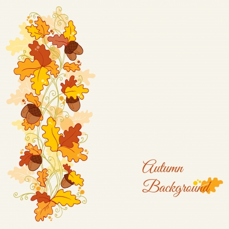 fall leaves border: set of decorative Autumn branches - for scrapbook and design  Illustration