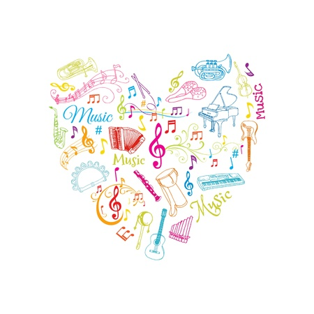 Musical Notes and Instruments Illustration  Vector