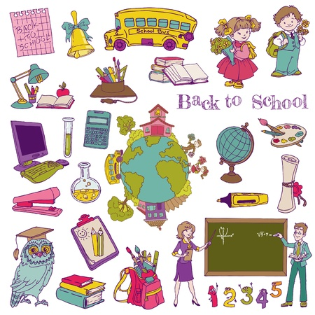 classroom supplies: Elementos de dise�o del libro de recuerdos - Back to School - para el dise�o y libro de recuerdos