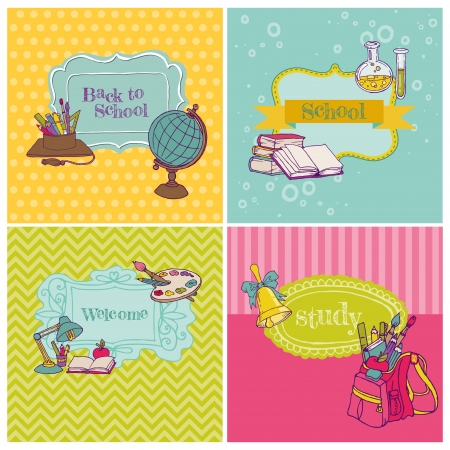 first day of school: Card Collection - Back to School - for design and scrapbook  Illustration