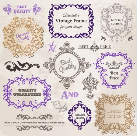 Set: Calligraphic Design Elements and Page Decoration, Vintage Frame collection with Flowers Vector