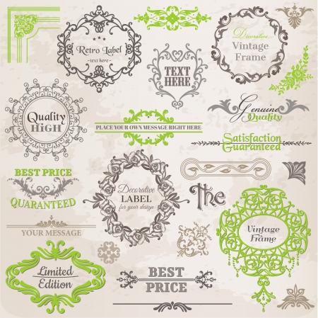 page decoration: Set: Calligraphic Design Elements and Page Decoration, Vintage Frame collection with Flowers