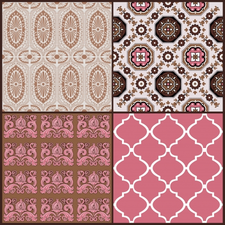 Set of Vintage Tiles Backgrounds - design elements for scrapbook Vector