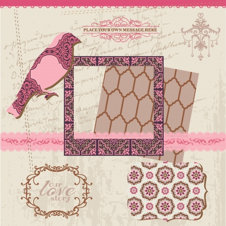 Scrapbook Design Elements - Vintage Tiles and Birds Vector