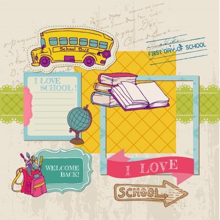 classroom supplies: �lbum de recortes elementos de dise�o - Regreso a la escuela - para el dise�o y libro de recuerdos Vectores