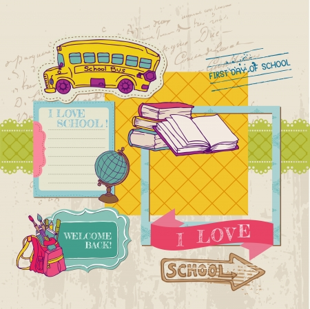 Scrapbook Design Elements - Back to School - for design and scrapbook  Vector