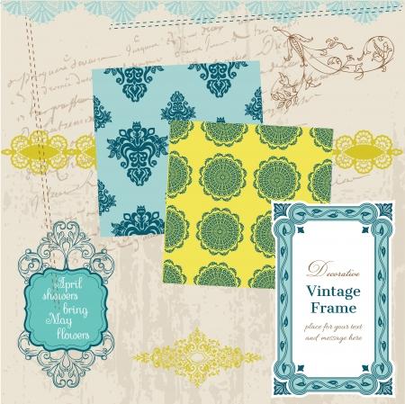 Scrapbook Design Elements - Vintage Tiles and Frames Vector