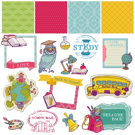 first day of school: Scrapbook Design Elements - Back to School - for design and scrapbook