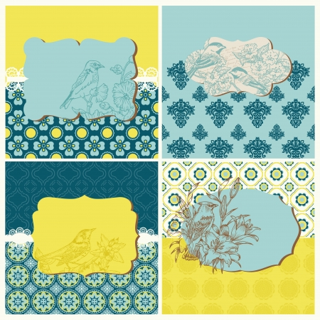 Set of Cards - Vintage Tiles and Birds  Vector