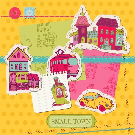 scrapbooking: Little Town Scrap - for scrapbooking and design Illustration