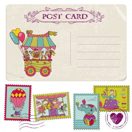 Vintage Party Postcard and Circus Postage Stamps - for invitation, congratulation, scrapbook Illustration