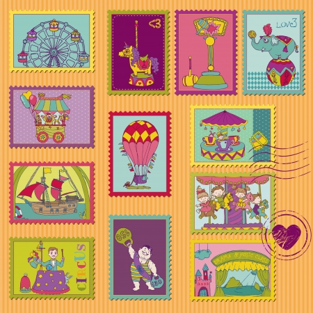 Funny Circus Postage Stamps - for design and scrapbook  Vector