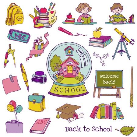 sketchy illustration: Scrapbook Design Elements - Back to School - for design and scrapbook