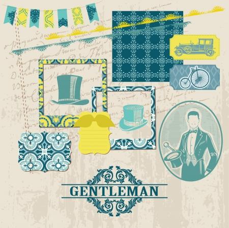 mustaches: Scrapbook Design Elements - Gentlemens Accessories Set