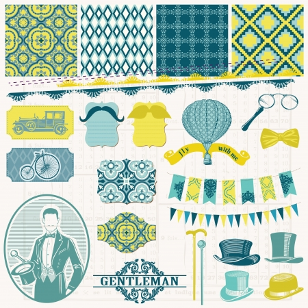 mustaches: Scrapbook Design Elements -Vintage Gentlemans Accessories Set Illustration