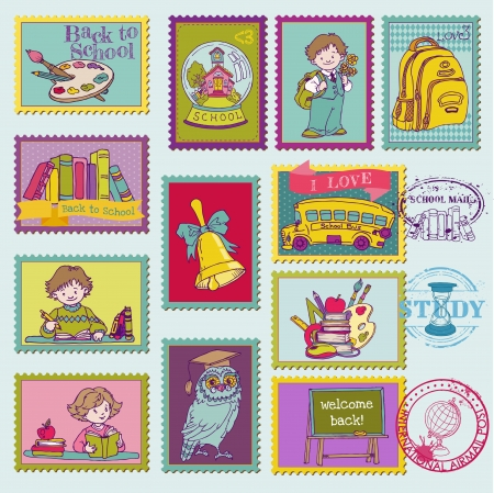 Baby Boy Postage Stamps - for design and scrapbook Vector