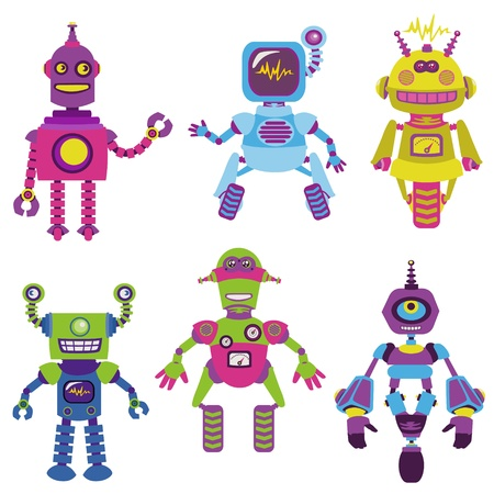 funny robot: Cute little Robots Collection - for your design or scrapbook