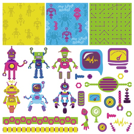 Scrapbook Design Elements - Cute Little Robots Collection  Stock Vector - 14896115