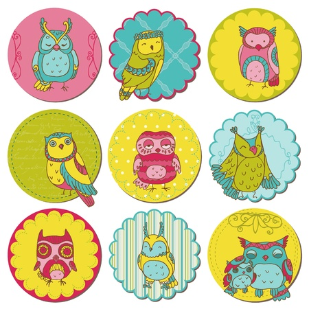 owlet: Elementos de dise�o del libro de recuerdos - Etiquetas con b�hos lindos