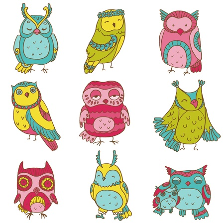 Various Owl Doodle Collection - hand drawn Vector