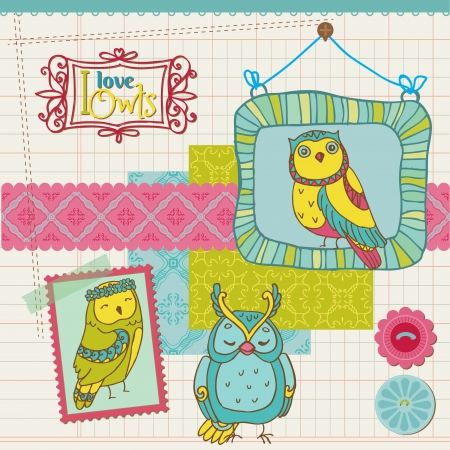 Scrapbook Design Elements - Little Owls Collection - hand drawn Vector