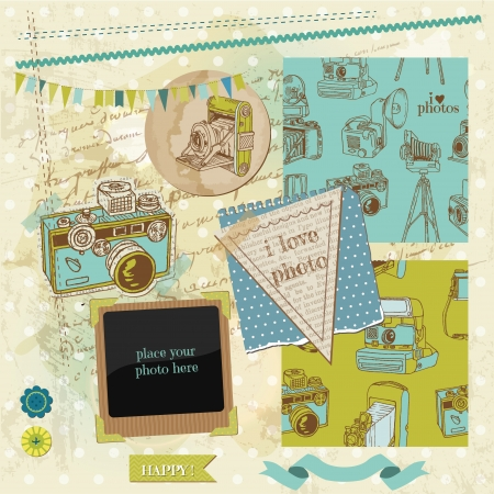 Scrapbook Design Elements - Vintage Photo Camera Scrap Vector