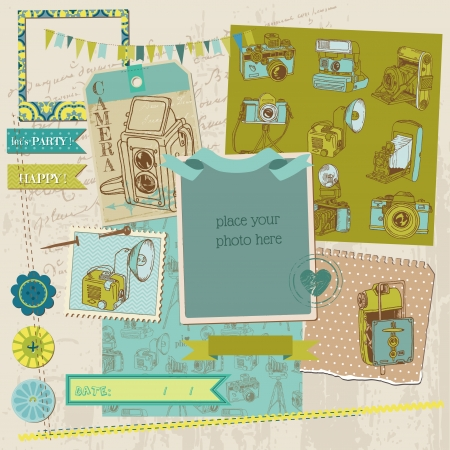 vintage camera: Scrapbook Design Elements - Vintage Photo Camera Scrap  Illustration