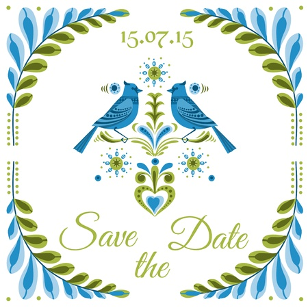 Vintage Invitation Bird Postcard  - for wedding, invitation, design, congratulation, scrapbook Vector