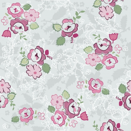 scrap paper: Seamless Vintage Flower Background - for design and scrapbook