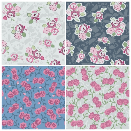 Seamless background Collection - Vintage Flowers - for design and scrapbook Vector
