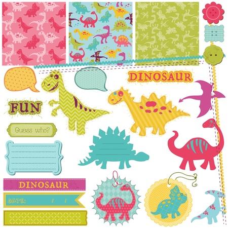 恐竜: スクラップ ブック デザイン要素 - 赤ちゃん恐竜セット  イラスト・ベクター素材