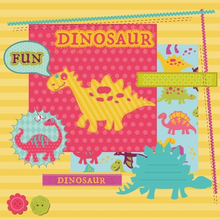 Scrapbook Design Elements - Baby Dinosaur Set  Stock Vector - 14896203