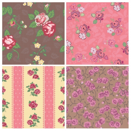 Seamless background Collection - Vintage Flowers - for design and scrapbook